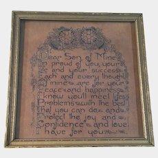 Vintage Framed Poem Son of Mine Circa 1930's