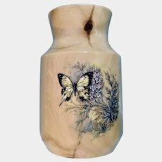 Beautiful Aspen Wood Vase with Swallowtail Butterfly Floral Design Made by Colorado Artist Gary Duncan
