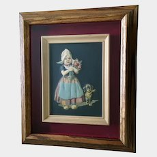 1940's  Raised Embossed Dutch Girl with Dachshund Puppy Dog  and Flowers Print Picture Framed