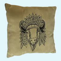Bizarre Mid-Century Suede Leather Pillow with Stitched Buffalo 1950's