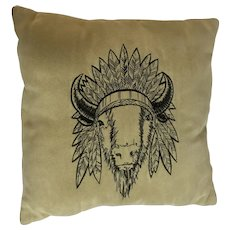 Vintage Suede Leather Pillow with Stitched Buffalo 1950's