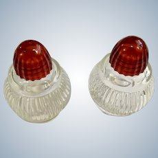 Vintage Red Lucite Lid Glass Salt & Pepper Shakers Circa 1940's