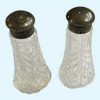 Vintage Glass Salt & Pepper Shakers  Pat. Appl'd for Made in USA
