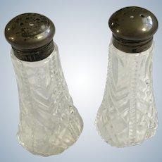 Vintage Glass Salt & Pepper Shakers  Pat. Appl'd for Made in USA