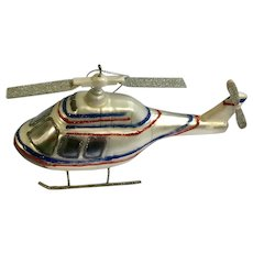 Glass Helicopter Silver, Red & Blue Colored Glitter Hanging Ornament