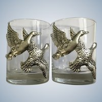 Arthur Court Flying Ducks Aluminum Hollowware Relief  Bar Glasses