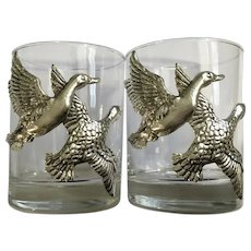 Flying Ducks Sport Hunting and Game Animal Series by Arthur Court Aluminum, Hollowware Relief Double Old Fashion Bar Glasses