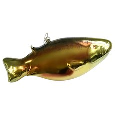 "Art Glass Rainbow Trout Fish 9"" Large Ornament"