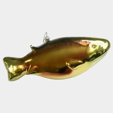 "Beautiful Large Rainbow Trout Fish 9"" Ornament Art Glass"