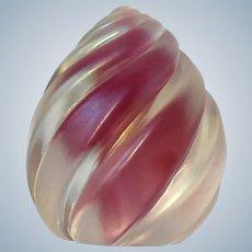 Art Glass Paperweight Pizazz Pink Iridescent Aurora Borealis Swirl Signed By Artist 1991