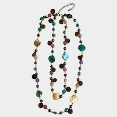Multicolored Two Strand Autumn Colored Shell & Beaded Necklace 21""