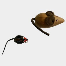 Mid-Century Wooden Mice Mouse Leather Tails and Ears Lapel Pin Set