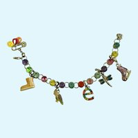 "Multicolored Rhinestone Bird Skate Initial e Charm M Bracelet 7"" Long"