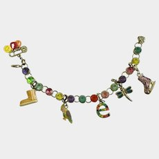 "Multicolored Rhinestone Bird Skate Initial e Charm M Bracelet 7"" Long"