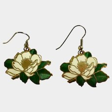 Beautiful Magnolia Flowers Fishhook Earrings for Pierced Ears