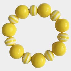 Lemon Yellow and White Striped Beaded Bracelet on Stretchy Bands