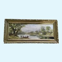 Figural people Crossing a River Going to Town Oil Painting