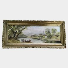 Figural people Crossing a River Going to Town Oil Painting Monogrammed by Artist