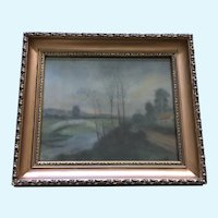 19th Century Rural Countryside Pastel Landscape Painting