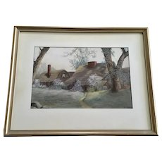 M Eldridge, Old English Home Early 19th Century Pastel Painting Signed by Artist
