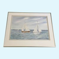 Daphne Henderson Morning Sailboat Race Original Watercolor Painting Signed by New Smyrna Beach Florida Artist