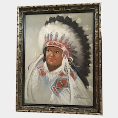 Stone, Little Big Chief Indian Boy Portrait Caricature Oil Painting Signed by Artist