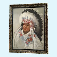 Stone, Little Chief Indian Boy Portrait Caricature Oil Painting Signed by Artist