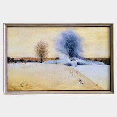 Al Nazarenus, Train Engine Sleepy Eye Minn. Illinois - Central Line Double-Header Snow Plow Oil Painting Signed by Artist