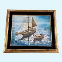 Teresa Hines, Abandoned Schooner Sailboat Original Oil Painting