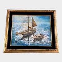 Teresa Hines, Abandoned Schooner Sailboat Original Oil Painting