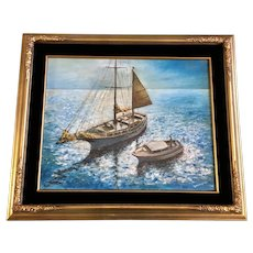 Teresa Hines, Abandoned Schooner Sailboat Original Oil Painting Signed by Connecticut Artist