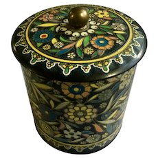 Old Daher Decorated Ware Tin Black Floral Colorful Flowers and Leaves Long Island NY 11101 Made in England