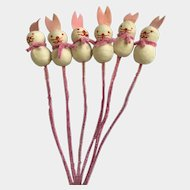 Mid-Century Easter Bunny Rabbits Firm Spun Cotton on Pipe Cleaners Festive Holiday Decorations