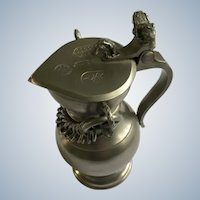 JP Della Bianca Small Pewter Covered Flagon for Wine or Eucharist Switzerland with Rams Head Finials
