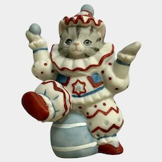 Kitty Cucumber Cat Clown Figurine Juggling Sitting on Ball Rare