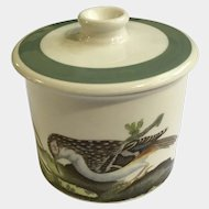 Portmeirion Birds of Britain Drum Sugar Bowl with Green Band Lid