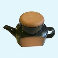 Vintage Terra-cotta Teapot with Cup Dark Blue Glaze Terracotta Earthenware