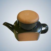 Vintage Terra-cotta Teapot with Cup Dark Blue Glaze Terracotta Earthenware