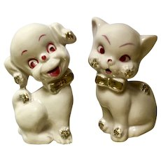 Mid-Century Pink Kitty Cat and Puppy Dog Figurines with Gold Bow Ties Japan