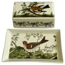 Portmeirion Birds of Britain Covered Butter Dish Covered Rectangle Green Band Rim