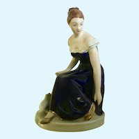Vintage Royal Dux Lady Porcelain Figurine in Cobalt Blue Dress Sitting