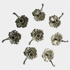 Vintage Birthday Candle Cake Toppers Silver Anniversary Decorations Metal Leaf Candlestick Holders Japan Set of Eight