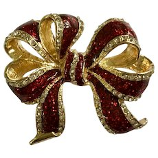 """Christmas Red Enamel Glitter with Rhinestone Ribbon Bow on Gold-Tone Metal Brooch Pin 2"""""""