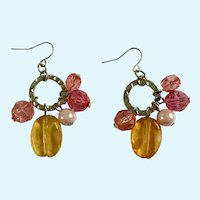 Dangling Pink and Amber Colored Beads on Silver-Tone Looks Fishhook Earrings for Pierced Ears