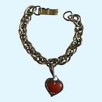 "Silver-Tone and Red Heart Charm Bracelet 6-3/4"" Long"