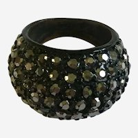 Rhinestone Encrusted Black Finger Ring 7-1/4 Size