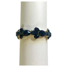 Blue Rhinestones on Gold-Tone Bracelet with Stretchy Band