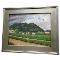 Fertile Green Farm in Valley Original Watercolor Painting Signed by Artist
