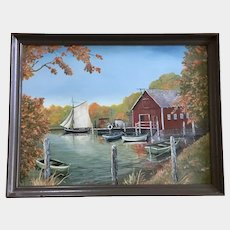 R Nolin, Sailboat Leaving Dock Acrylic Painting Signed by Artist