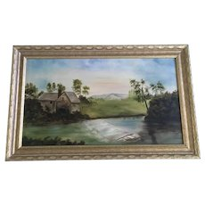 Primitive Waterwheel River Landscape Oil Painting Ralph R Gibson Sr.